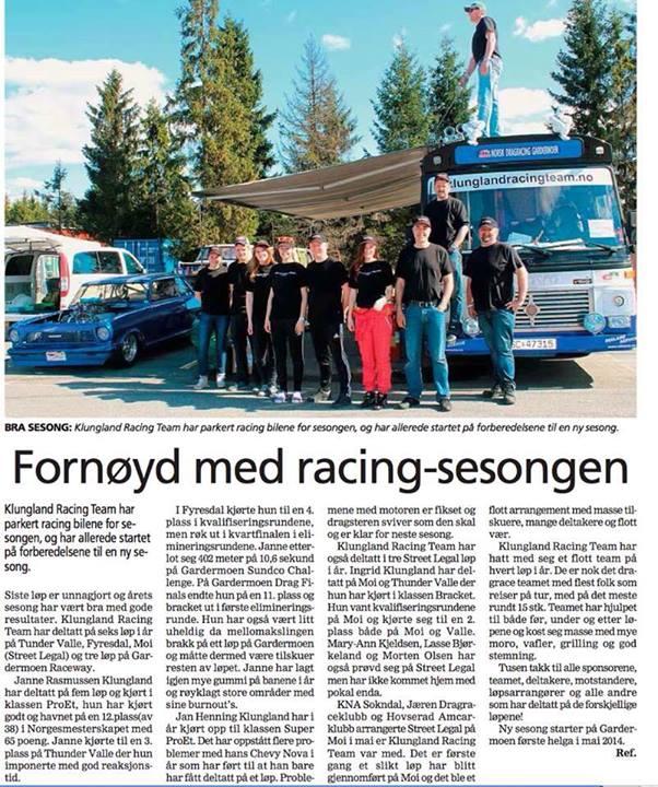 Klungland Racing Team i avisen Agder. Skrevet av Ingrid R. Klungland